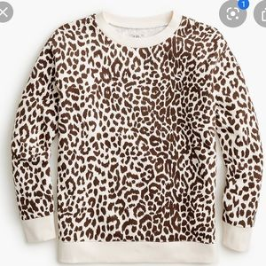 New J Crew Leopard Crew neck sweatshirt XL
